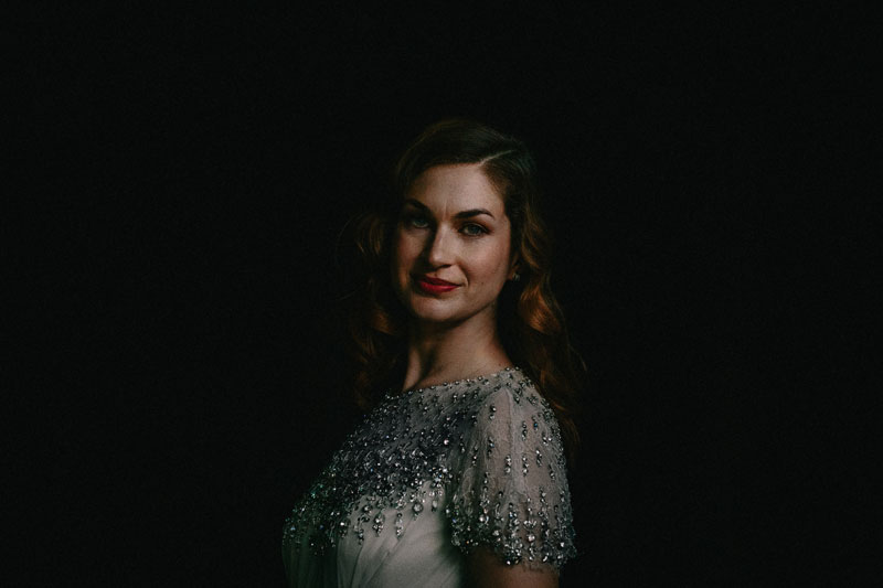 dark moody bridal portrait