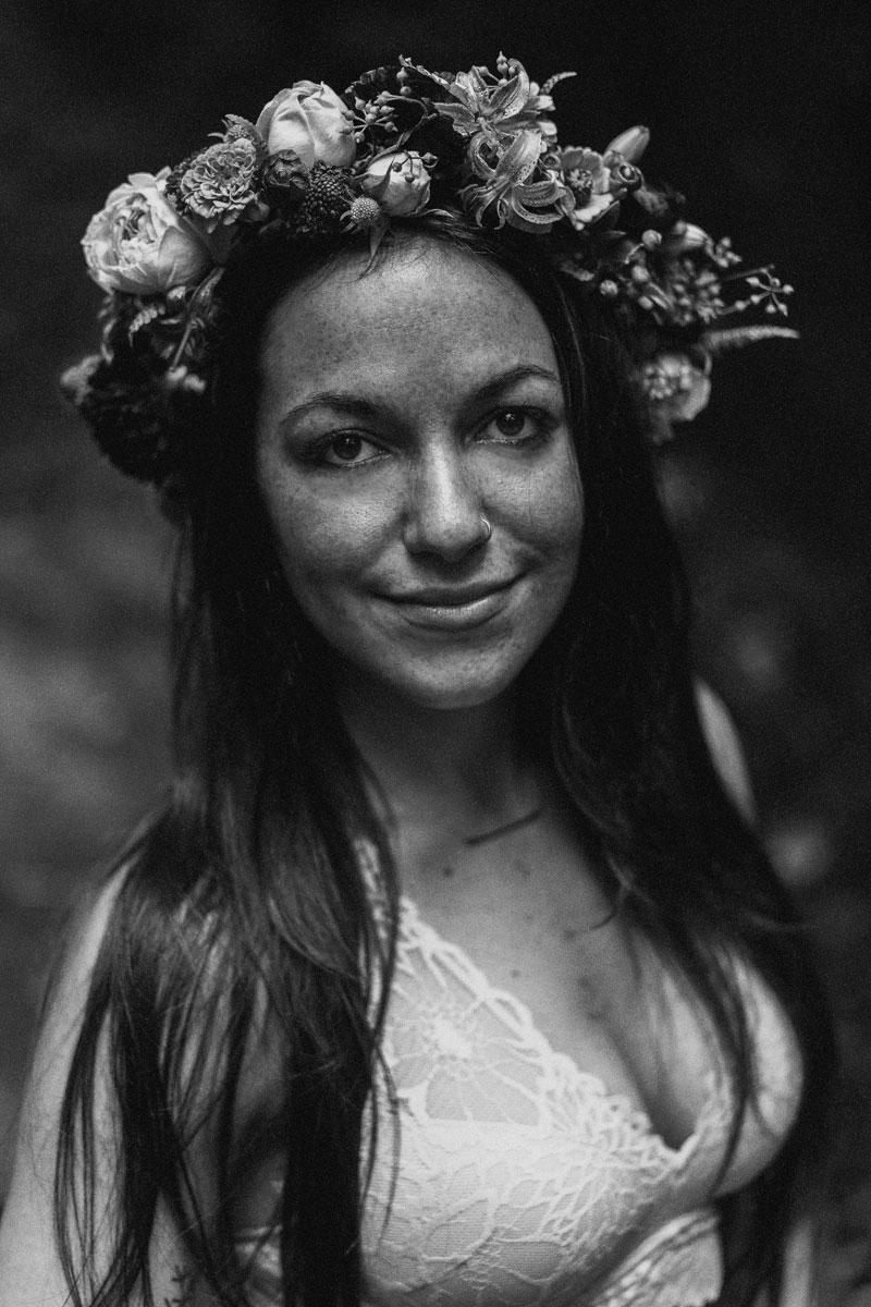 black and white portrait with flower crown