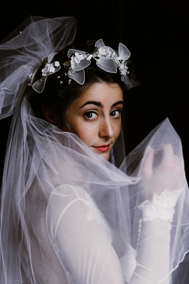 Dark Moody Bridal Portrait vintage veil